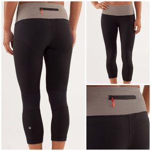 Lululemon Bright At Night Crop Black Tonka Stripe